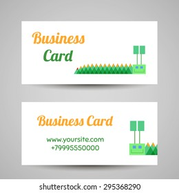 Business card template with funny caterpillar. Vector illustration