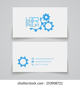 Business card template. Gears concept logo. Vector illustration