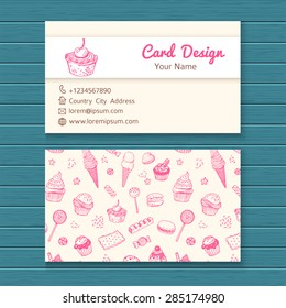 Candy business card template images stock photos vectors business card template with hand drawn sweets set colourmoves
