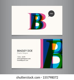 Business card template, letter B