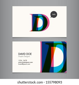 Business card template, letter D
