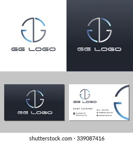 Business card template with letter GG-Silver-Blue