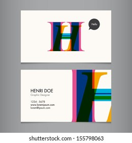 Business card template, letter H