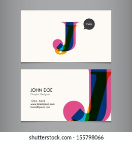 Business card template, letter J