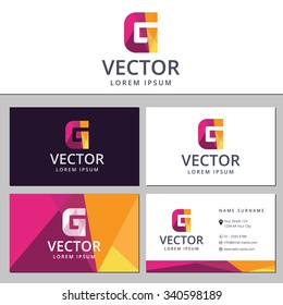 Business card template with a letter logo G