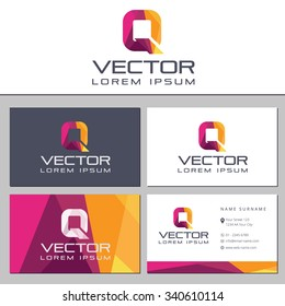 Business card template with a letter logo Q