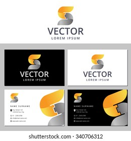 Business card template with a letter logo S