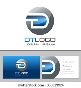 Business card template with a letter logo DT
