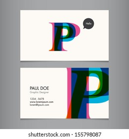 Business card template, letter P