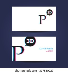 Business card template letter n 3 d stock photo photo vector business card template letter p 3d accmission Gallery