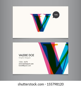 Business card template, letter V
