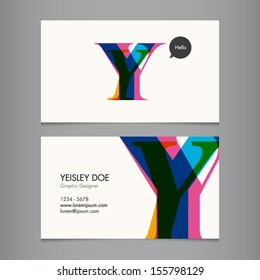 Business card template, letter Y
