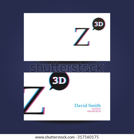 Business card template letter z 3 d stock vector royalty free business card template letter z 3d accmission Image collections