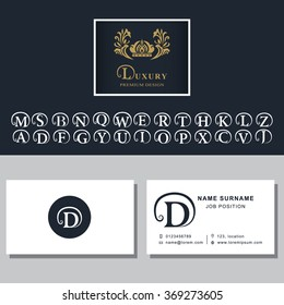 Business card template. Letters design for business cards. Abstract modern monogram design elements. Letters D, A, B, M, W, R, T, K, L, C, S, F, P, V, E, Q, H, G, N, J, Z, Y. Vector illustration