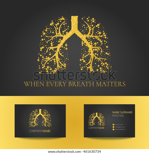 Business card template with lungs filled with air bubbles on black background. Gold vector logo graphic design for pulmonary clinics and medical centers.