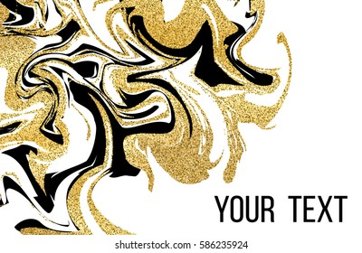 Business card template. Marbling texture background. Abstract marble luxury design with golden glitter elements. Colorful vector illustration.