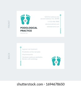 Business card template for a medical clinic that deals with the study and treatment of diseases associated with the feet