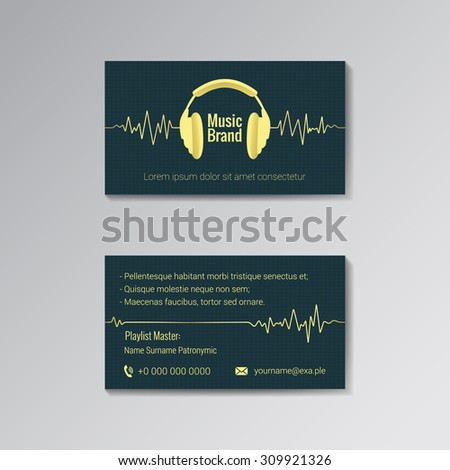 Business Card Template Music Dj Music Stock Vector Royalty Free