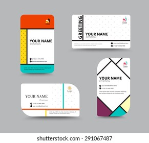 Business card template. name card design for business. include sample text layout. vector illustration. simple name tag design concept.