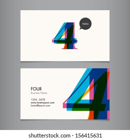 Business card template with number four