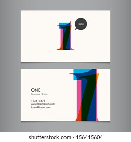 Business card template with number one