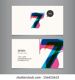 Business card template with number seven