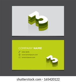 Business card template with number three