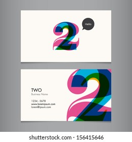 Business card template with number two