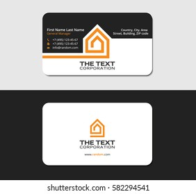 Business card template red house corporate stock vector royalty business card template real property corporate identity design reheart Images