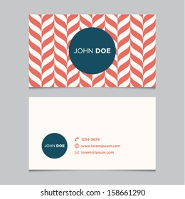 Business card template, red pattern vector design editable