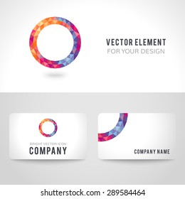 Business card template set. Bright picture round frame in modern polygonal crystal style on white background. Vector illustration colorful bright design. Triangles.