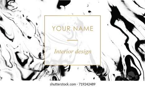 Business card template set. Elegant, abstract branding with marble texture and golden frame with place for text. Vector design for decorators, artists, fashion bloggers, stylists