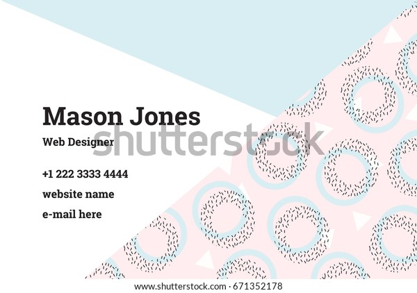 Business Card Template Style Memphis Perfect Stock Vector Royalty