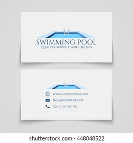 Business card template. Swimming pool quality service and design. Conceptual logo. Vector illustration.
