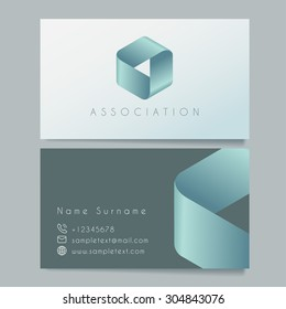 Business Card Template : Teal, Aqua Ribbon : Vector Illustration