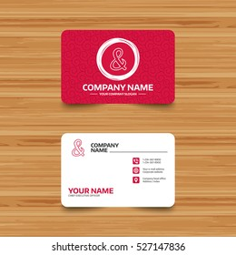 Business card template with texture. Ampersand sign icon. Programming logical operator AND. Wedding invitation symbol. Phone, web and location icons. Visiting card  Vector