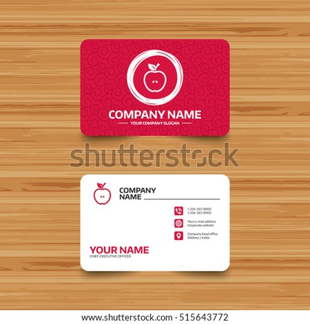 Business card template texture apple sign stock vector royalty free business card template with texture apple sign icon fruit with leaf symbol phone flashek Gallery