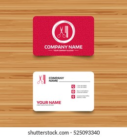 Business card template with texture. Comb hair with scissors sign icon. Barber symbol. Phone, web and location icons. Visiting card  Vector