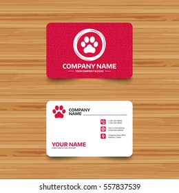 Pet business card images stock photos vectors shutterstock business card template with texture dog paw sign icon pets symbol phone colourmoves