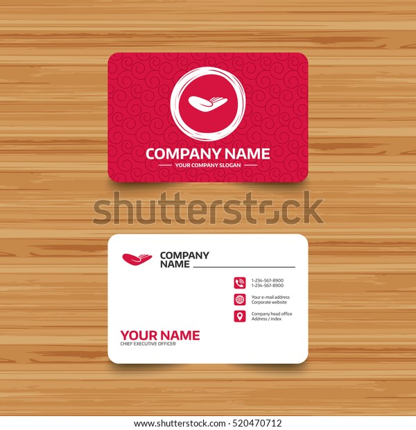 Business card template with texture. Donation hand sign icon. Charity or endowment symbol. Human helping hand palm. Phone, web and location icons. Visiting card  Vector