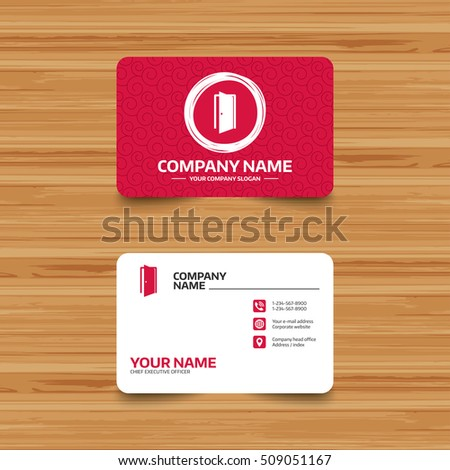 Business card template texture door sign stock vector royalty free business card template with texture door sign icon enter or exit symbol internal maxwellsz