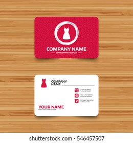 Business card template with texture. Woman dress sign icon. Elegant clothes symbol. Phone, web and location icons. Visiting card  Vector