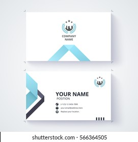 Business card template with Triangle abstract concept and commercial design. vector illustration