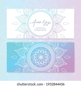 Business card template with vector illustration of mandala and hand lettering for Anusara yoga studio. Stylish logotype, visit card, banner, poster, label, invitation, or gift card. EPS10