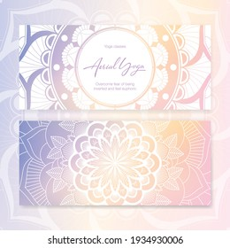 Business card template with vector illustration of mandala and hand lettering for Aerial yoga studio. Stylish logotype, visit card, banner, poster, label, invitation, or gift card. EPS10
