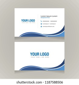 Business Card Template, Visiting Card Template, Blue Wavy Design, Corporate Brochure Design