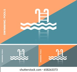Business card template or web banner design with swimming pool icon
