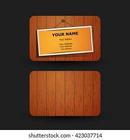Business Card Template with Wooden Pattern