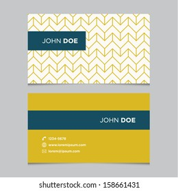 Business card template, yellow pattern vector design editable