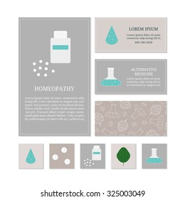 Business card templates with medical icons. Branding elements for homeopathy and herbal medicine.